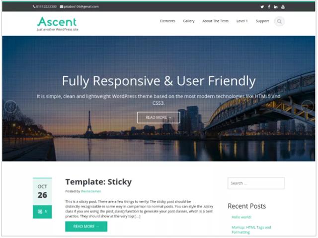 melhores temas gratuitos wordpress Ascent