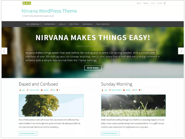 template gratuito wordpress nirvana