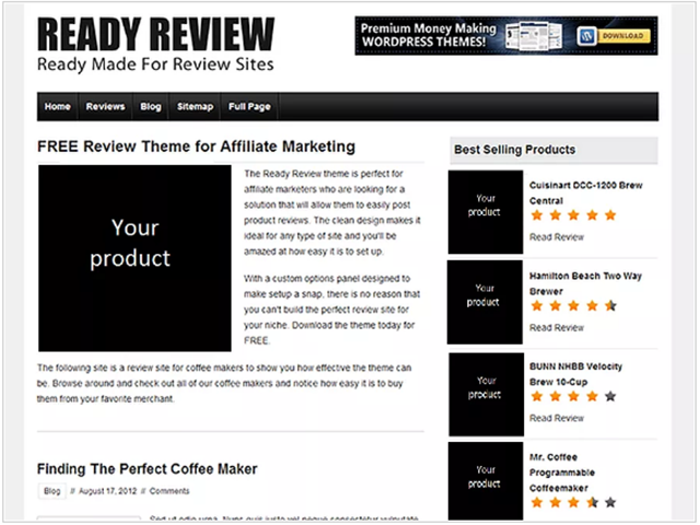 tema gratuito WordPress Ready Review