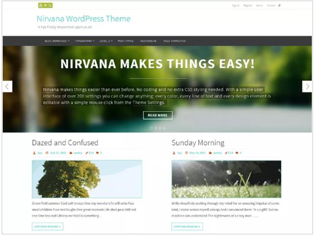 template gratuito wordpress nirvana